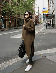 Women's Casual/Daily Work Vintage Street chic Long Pullover,Solid Turtleneck Long Sleeves Acrylic Fall Winter Thick Micro-elastic