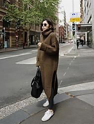 Lungo Pullover Da donna-Casual Ufficio Vintage Moda città Tinta unita A collo alto Manica lunga Acrilico Autunno Inverno Spesso Media