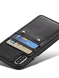 Недорогие -Кейс для Назначение Apple iPhone X iPhone 8 Бумажник для карт Защита от удара Кейс на заднюю панель Сплошной цвет Твердый Настоящая кожа