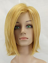 cheap -Synthetic Wig Straight Blonde Bob Haircut Synthetic Hair Middle Part Blonde Wig Women's Medium Length Capless