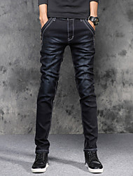 cheap -Men's Mid Rise Micro-elastic Skinny Slim Jeans Pants Solid Cotton Spandex All Seasons