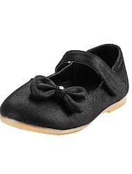 Girls' Shoes Fabric Spring Fall Comfort Flower Girl Shoes Flats Bowknot Magic Tape for Wedding Dress Black