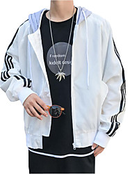 Men's Daily Simple Casual Spring Fall Jackets,Solid Hooded Long Sleeve Regular 100% Polyester