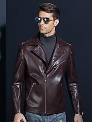 cheap -Men's Sports Street chic Fall Leather Jacket,Solid Notch Lapel Long Sleeve Short Lambskin