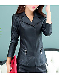 cheap -Women's Daily Simple Casual Fall Leather Jacket,Solid Shirt Collar Long Sleeve Regular PU