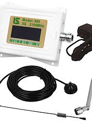 mini intelligent lcd affichage umts 3g980 2100 mhz téléphone portable signal amplificateur répéteur avec extérieur ventouse antenne /