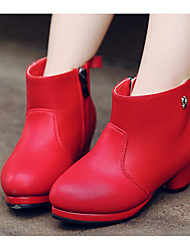 cheap -Girls' Shoes PU Winter Fall Fashion Boots Boots Booties/Ankle Boots for Casual White Black Red