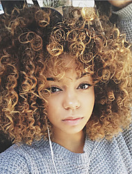 cheap -Synthetic Wig Curly Synthetic Hair Highlighted / Balayage Hair Blonde Wig Women's Short Capless
