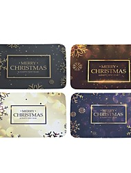 Set of 4 Welcome Floor Mats Merry Christmas Cute Pattern Bathroom Kitchen Carpets House Doormats for Living Room Anti-Slip Tapete Rug W16 x L24 inch