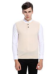 cheap -Men's Daily Regular Vest,Solid Round Neck Sleeveless Cotton Winter Fall Medium Micro-elastic