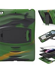baratos -Capinha Para Apple iPad Mini 4 iPad Mini 3/2/1 iPad 4/3/2 iPad Air 2 iPad Air Antichoque Com Suporte Capa Proteção Completa Côr Sólida