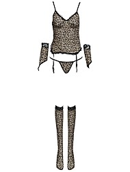 cheap -Women's Sexy Suits Ultra Sexy Gartered Lingerie Nightwear Leopard