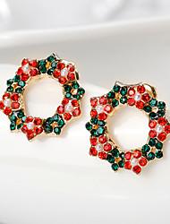 baratos -Mulheres Flor Brincos Compridos - Vermelho Brincos Para Natal / Diário