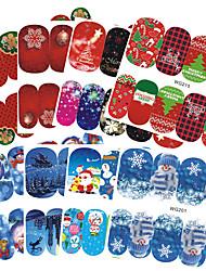 Недорогие -18 Стикер искусства ногтя С рисунком Аксессуары Крепеж на поверхности Ар деко / Ретро Наклейка для переноса воды 3-D Рождество Новый год