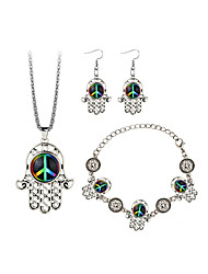 Women's Drop Earrings Necklace Bohemian Fashion Party Going out Resin Alloy Hamsa Hand Music Notes Necklace Earrings Bracelets