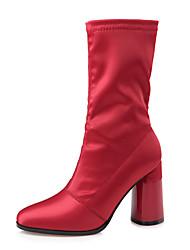 preiswerte -Damen Schuhe Kunstleder Winter Herbst Komfort Neuheit Pumps Stiefel für Hochzeit Party & Festivität Schwarz Rot