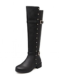 cheap -Women's Shoes Leatherette Spring Winter Fashion Boots Boots Chunky Heel Round Toe Knee High Boots Buckle For Wedding Office & Career