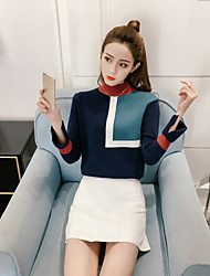 cheap -Women's Daily Going out Street chic Regular Pullover,Color Block Turtleneck Long Sleeves Cotton Winter Medium Micro-elastic