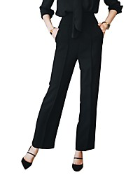 cheap -Women's Mid Rise Inelastic Wide Leg Business Pants,Casual Solid Fall