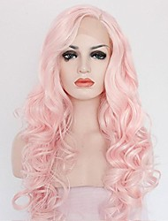cheap -Women Synthetic Wig Lace Front Medium Length Long Curly Wavy Pink Lolita Wig Drag Wig Party Wig Celebrity Wig Halloween Wig Carnival Wig