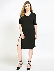 cheap -Cute Ann Women's Plus Size Cute Shift Sheath Tunic Dress - Solid Colored Split V Neck