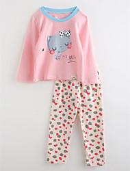 Girls' Cartoon Sleepwear-Cotton-Fall Long Sleeve