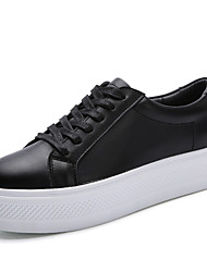 cheap -Women's Shoes Nappa Leather Fall / Winter Comfort Sneakers Lace-up White / Black