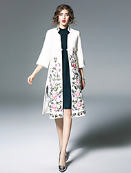 Women's Going out Casual/Daily Chinoiserie Winter Trench Coat,Floral Print Stand ¾ Sleeve Long Wool Polyester Embroidered