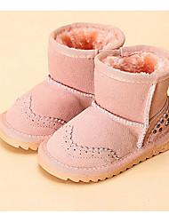 billige -Pige Sko Læder Vinter Snestøvler / Fluff Foder Støvler for Rosa / Lys pink / Kamel