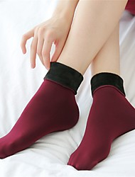 Women's Solid Color Thick Warm Fleece Lined Warm Short Socks