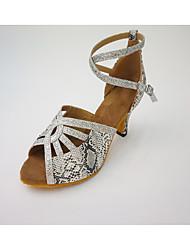 """Women's Latin Leatherette Honeycomb Heel Indoor Criss-Cross Splicing Color Block High Heel Silver 2"""" - 2 3/4"""""""