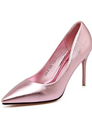 cheap -Women's Shoes PU Summer Fall Comfort Heels Pointed Toe for Wedding Dress Gold Black Silver Pink