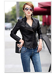 cheap -Women's Street chic Leather Jacket-Solid Colored Stand