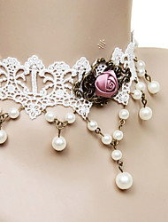Lolita Jewelry Classic/Traditional Lolita Necklace Princess White Lolita Accessories Necklace Lace For Lace Alloy