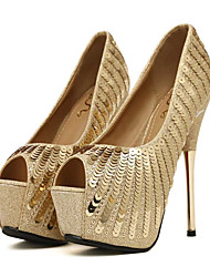 cheap -Women's Shoes Paillette PU Spring Fall Comfort Novelty Wedding Shoes Stiletto Heel Peep Toe Sequin For Wedding Party & Evening Gold