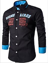 cheap -Men's Daily Casual Shirt,Houndstooth Shirt Collar Long Sleeves Cotton