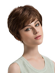 Women Synthetic Wig Capless Short Straight Brown Side Part Highlighted/Balayage Hair Pixie Cut Natural Wigs Costume Wig