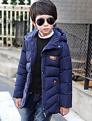 cheap -Boys' Solid Patchwork Down & Cotton Padded,Cotton Polyester Winter Long Sleeve Red Navy Blue