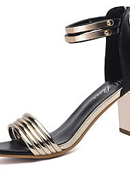 cheap -Women's Shoes Patent Leather Spring Summer Gladiator Sandals Chunky Heel Peep Toe for Dress Party & Evening Gold Silver