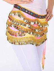 cheap -Belly Dance Hip Scarves Women's Performance Linen Sequin Sequin Hip Scarf
