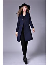 Manteau Femme,Couleur Pleine Décontracté / Quotidien Chic de Rue Sophistiqué Hiver Manches longues Col en V Normal Laine Polyester