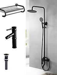 cheap -Contemporary Special Design Tub And Shower Rain Shower Handshower Included Ceramic Valve Two Holes Black , Shower Faucet
