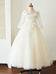 Ball Gown Floor Length Flower Girl Dress - Satin Tulle Long Sleeves Jewel Neck with Beading Appliques Buttons Flower(s) by LAN TING BRIDE®
