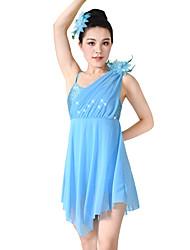 abordables -Ballet Robes Femme Utilisation Spandex Élastique Maille Elasthanne Pailleté Lycra Paillette Fleur Volants Sans Manches Taille haute Robe
