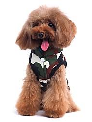 baratos -Gato Cachorro Casacos Colete Roupas para Cães Casual Dupla Face Chrismas Dia Das Bruxas Carta e Número Cor camuflagem Ocasiões Especiais