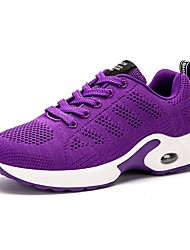 cheap -Women's Shoes Tulle Spring Fall Comfort Athletic Shoes Walking Shoes Flat Heel Round Toe Lace-up For Athletic Outdoor Red Purple Gray