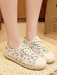 Feminino Sapatos Lona Primavera Verão Conforto Rasos Para Casual Vermelho Azul
