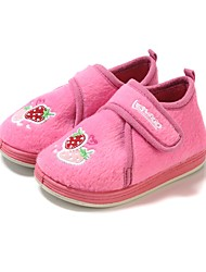 Girls' Shoes Fleece Winter Comfort First Walkers Loafers & Slip-Ons Applique Magic Tape For Casual Blushing Pink