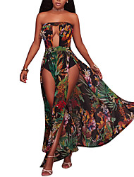 cheap -Women's Party Holiday Club Plus Size Vintage Sexy Boho Sheath Dress,Floral Strapless Maxi Sleeveless Polyester Spring Summer High Rise