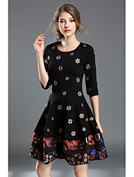 Women's Going out Sexy Cute A Line Dress,Embroidered Round Neck Knee-length Half Sleeves Others Spring Fall Mid Rise Inelastic Medium